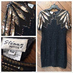 Vintage Stenay Petite black silk beaded dress P12